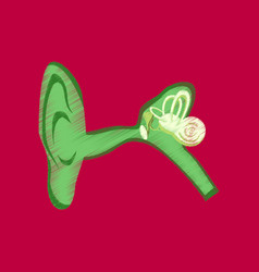 Flat shading style icon ear vector