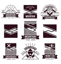 Snowboard and mountains emblems vector