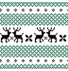 Norwegian pattern green - black and white vector image