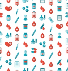 Seamless pattern with flat medical icons repeating vector