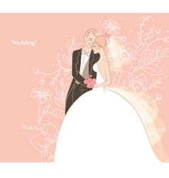 wedding couple back vector image