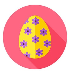Easter egg with floral decor circle icon vector