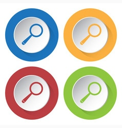 Set of four icons - magnifier vector