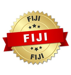 Fiji round golden badge with red ribbon vector