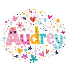 Audrey female name decorative lettering type vector