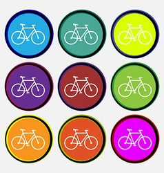 bicycle icon sign Nine multi colored round buttons vector image vector image