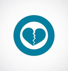 Broken heart icon bold blue circle border vector