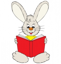 bunny reading the red book vector image vector image