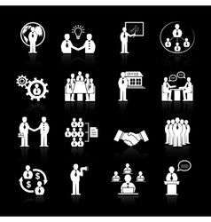 Business team meeting icons set vector image