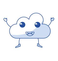 cloud silhouette kawaii character vector image vector image