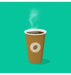 Coffee cup with bean logo and steam vector