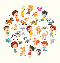 collection of kids and animals vector image vector image