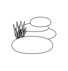Contour of spa therapy lava stones and grass vector
