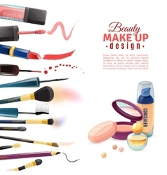 Cosmetics beauty make-up design poster vector