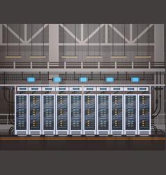 Data center room hosting server computer vector
