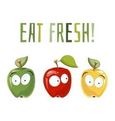 Eat fresh Surprised apples with eyes vector image