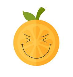 Emoji - enjoy orange with happy smile isolated vector