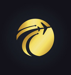 Gold airplane travel globe fly logo vector