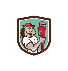 Horse plumber monkey wrench crest cartoon vector