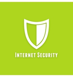 Internet security flat icon on green background vector image