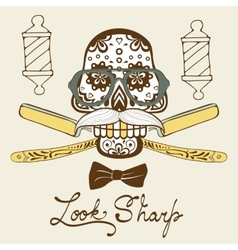 Look sharp skull with mustache and hat retro vector