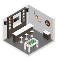 Lounge for men room isometric icon set vector