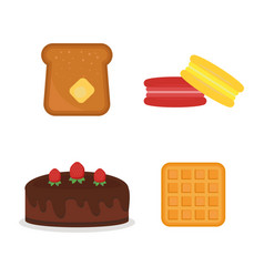 Macaroon fresh baked bread products icons vector