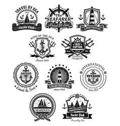 nautical and marine symbols icons set vector image vector image