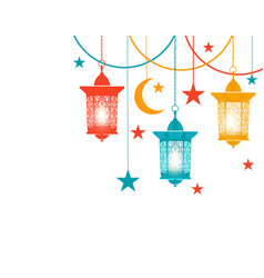 ramadan kareem colored lanterns in the oriental vector image vector image