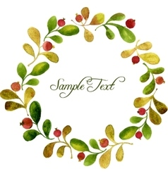 round wreath with watercolor green leaves and red vector image