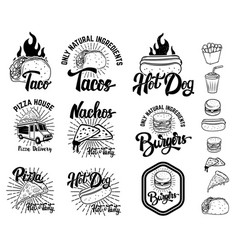 Set of fast food emblems taco hot dog nachos vector