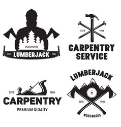 set of isolated vintage lumberjack labels with vector image vector image