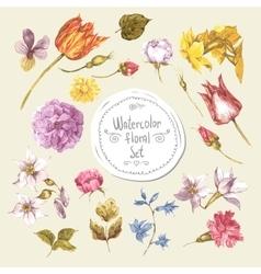 Set of watercolor floral design elementspeonies vector