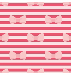 Tile pattern with pastel pink bows on a red strips vector image vector image