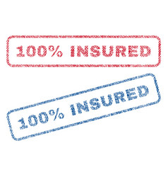 100 percent insured textile stamps vector
