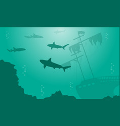 silhouette of shark and ship on underwater vector image