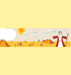 Web banner with moses from passover story and vector