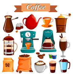 Set of different coffee food product vector