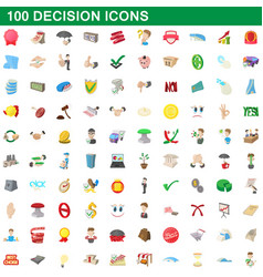 100 decision icons set cartoon style vector