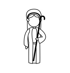 Cartoon shepherb manger people with cane wooden vector