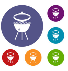 Barbecue icons set vector