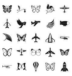Flyer icons set simple style vector