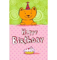 Birthday greeting card with red cat vector