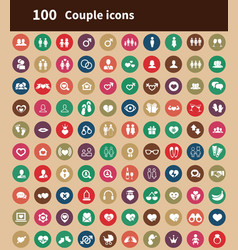 100 couple icons vector
