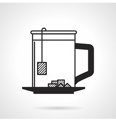 Tea cup with sugar black icon vector