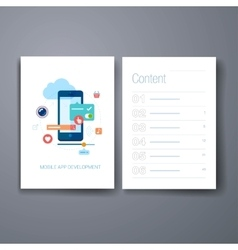 Modern mobile app development flat icon cards vector