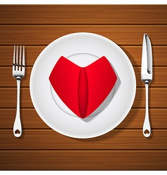 Fork with knife and folded napkin on plate vector