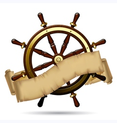 Steering wheel with a parchment vector image