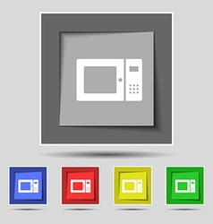 Microwave icon sign on original five colored vector