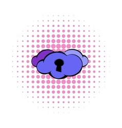 Cloud with keyhole icon comics style vector